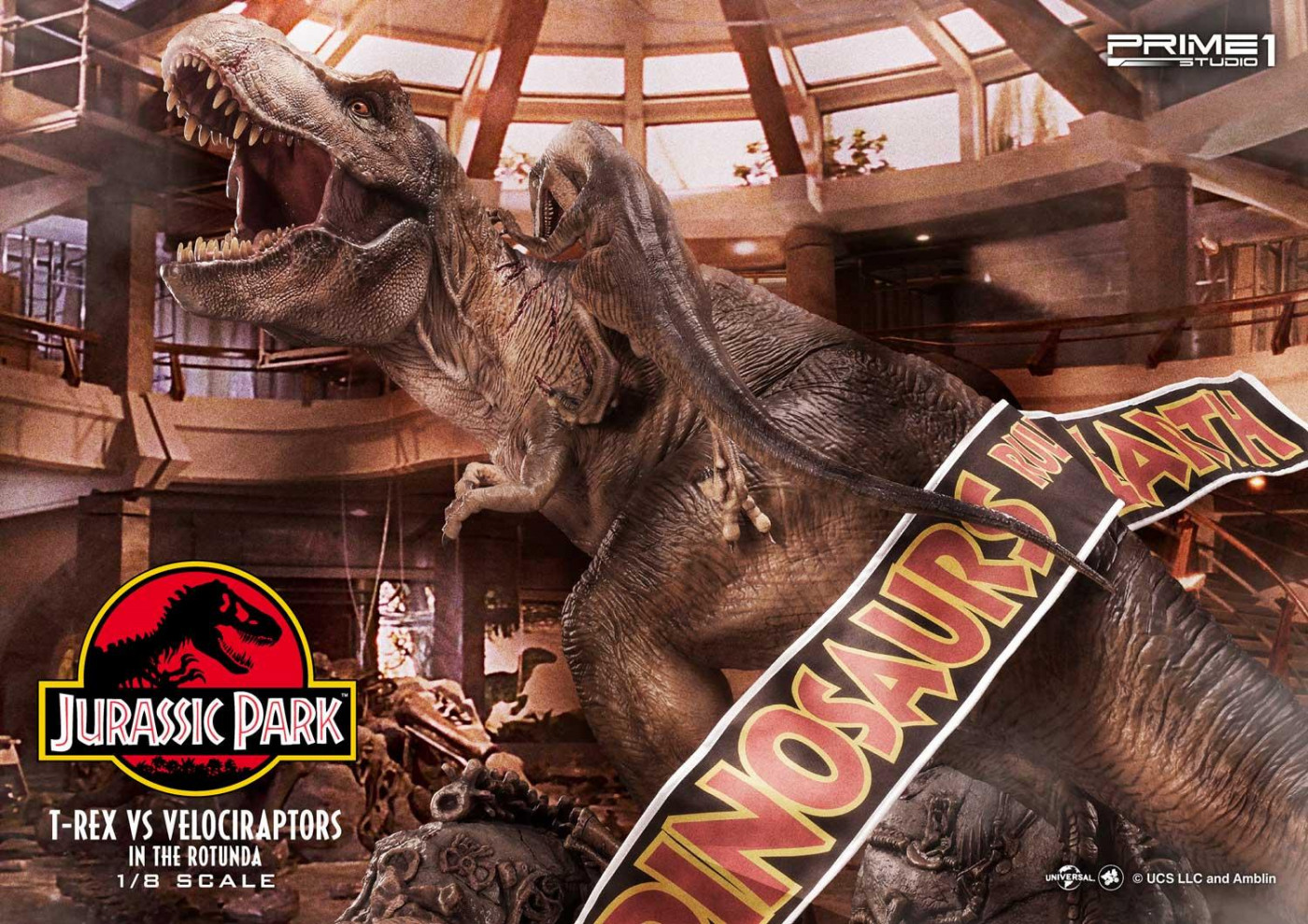 Legacy Museum Collection Jurassic Park (Film) T-REX VS Velociraptors in the Rotunda 1/8 scale Bonus Version